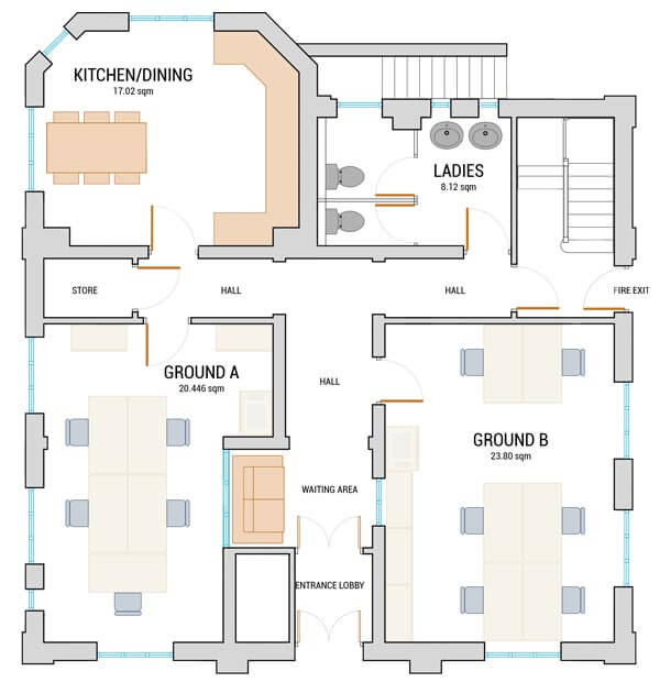 Norwich New Patricks Yard Ground Floor office space floorplan