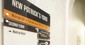 New Patrick's Yard floor signs